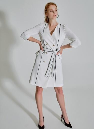People By Fabrika Biye Detaylı Elbise Beyaz